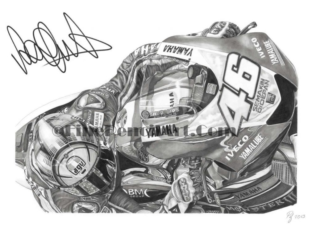 Signed Valentino Rossi Artwork